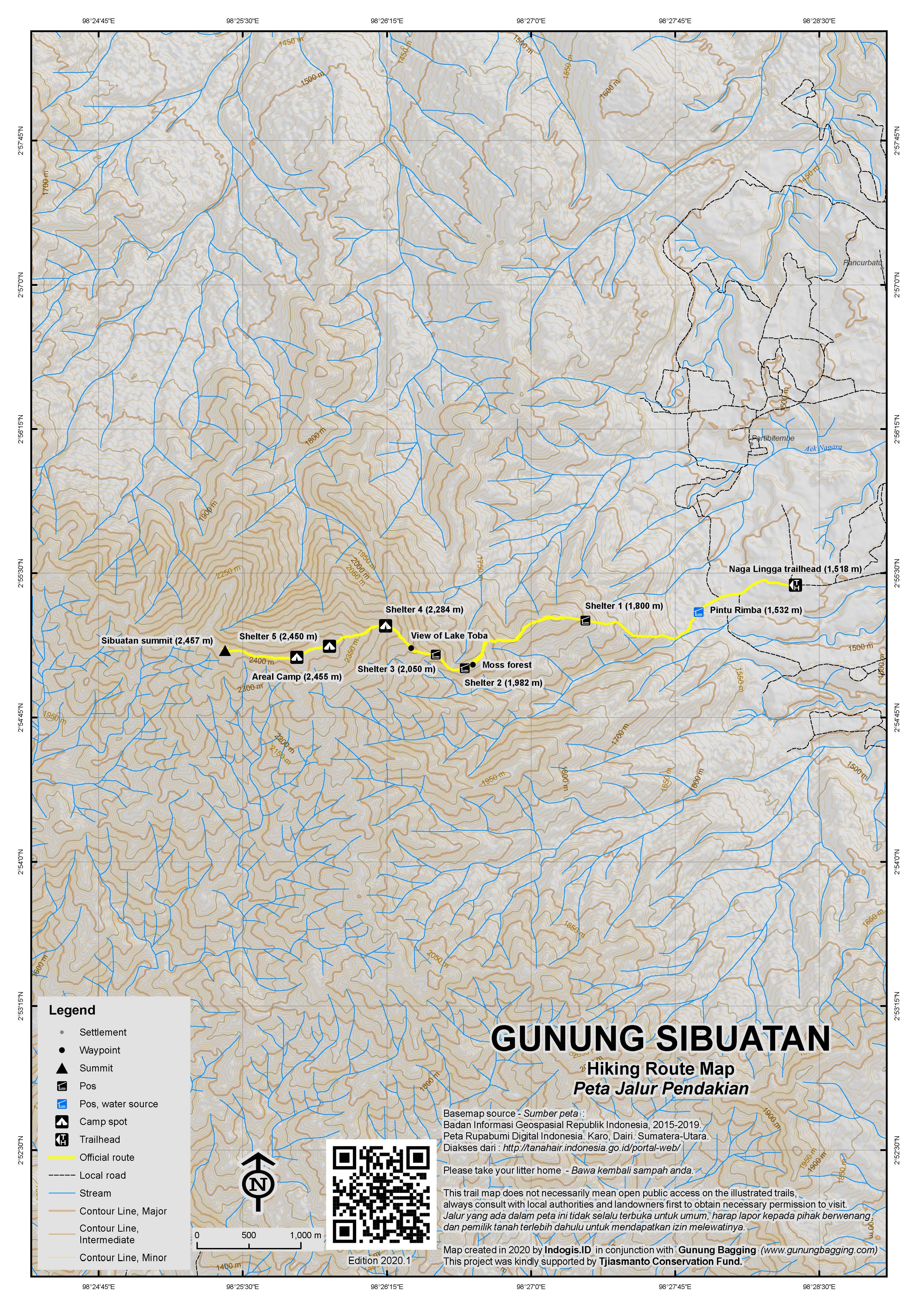 Peta Jalur Pendakian Gunung Sibuatan
