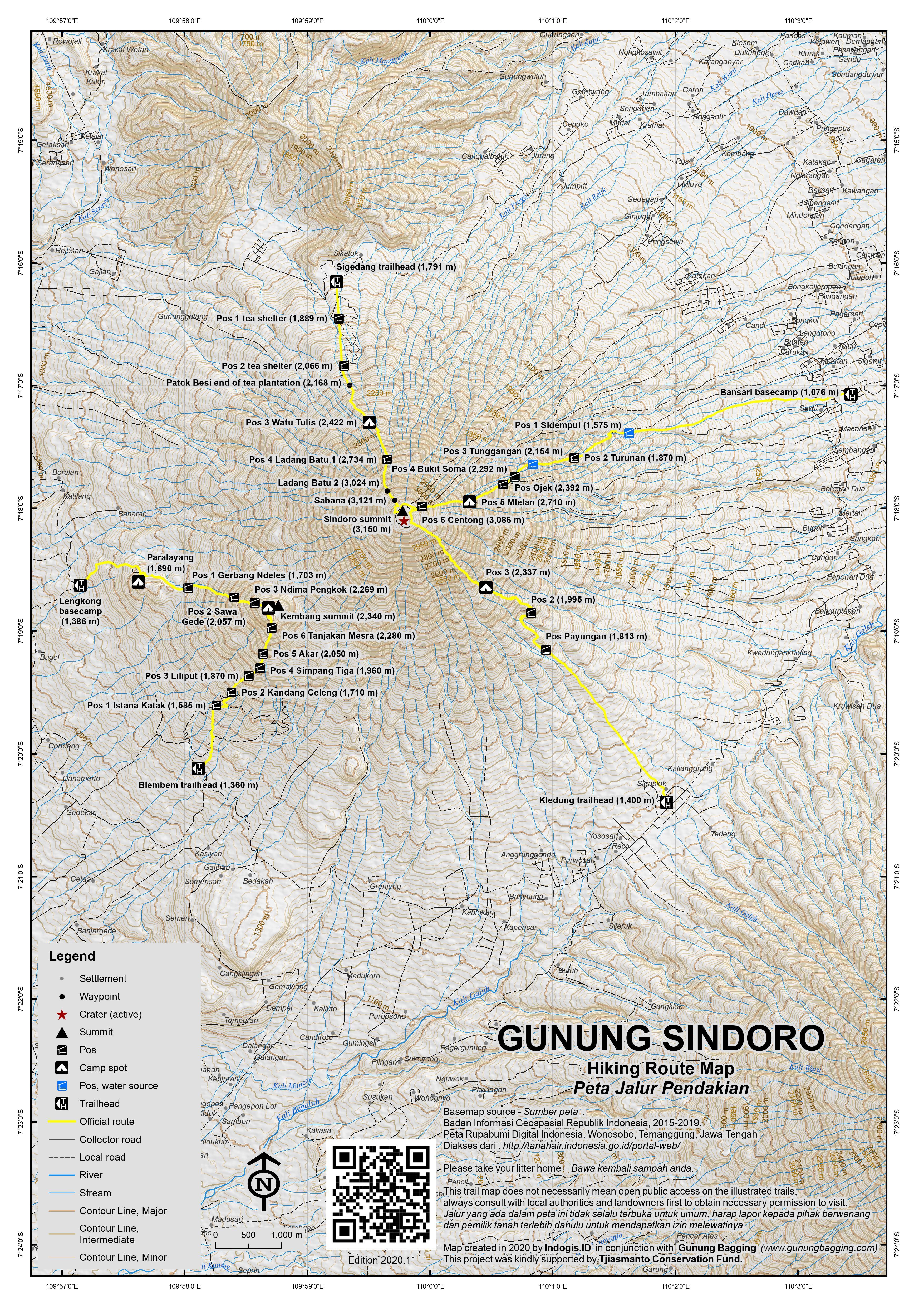 Peta Jalur Pendakian Gunung Sindoro