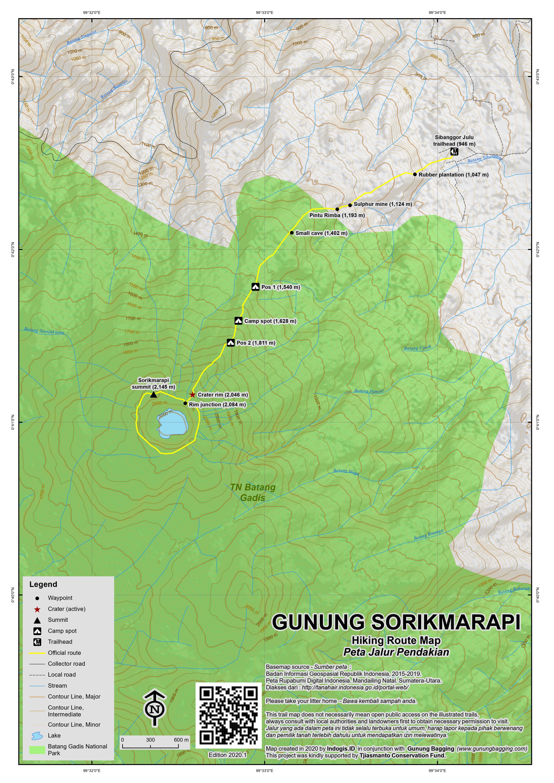 Peta Jalur Pendakian Gunung Sorikmarapi