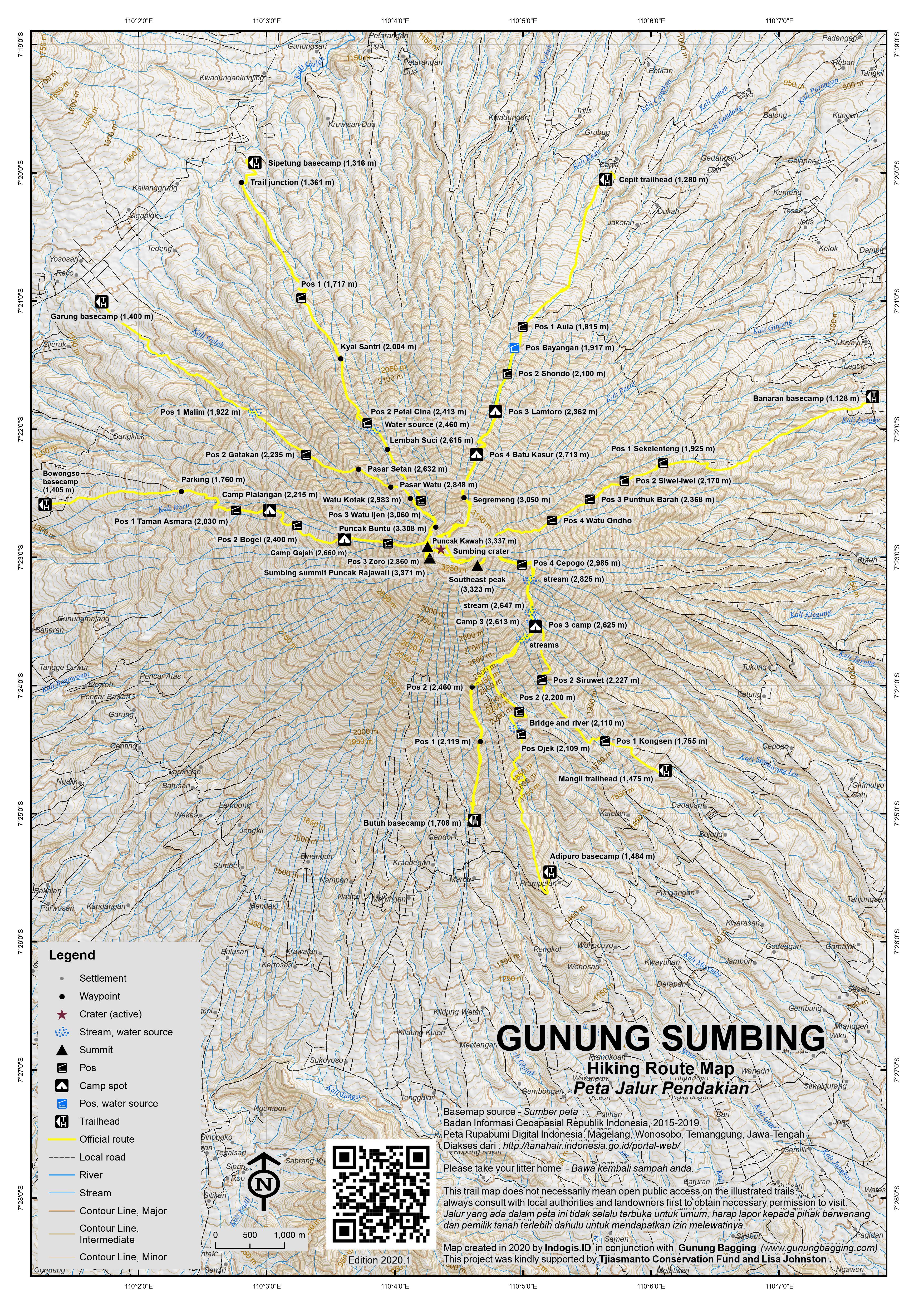 Peta Jalur Pendakian Gunung Sumbing
