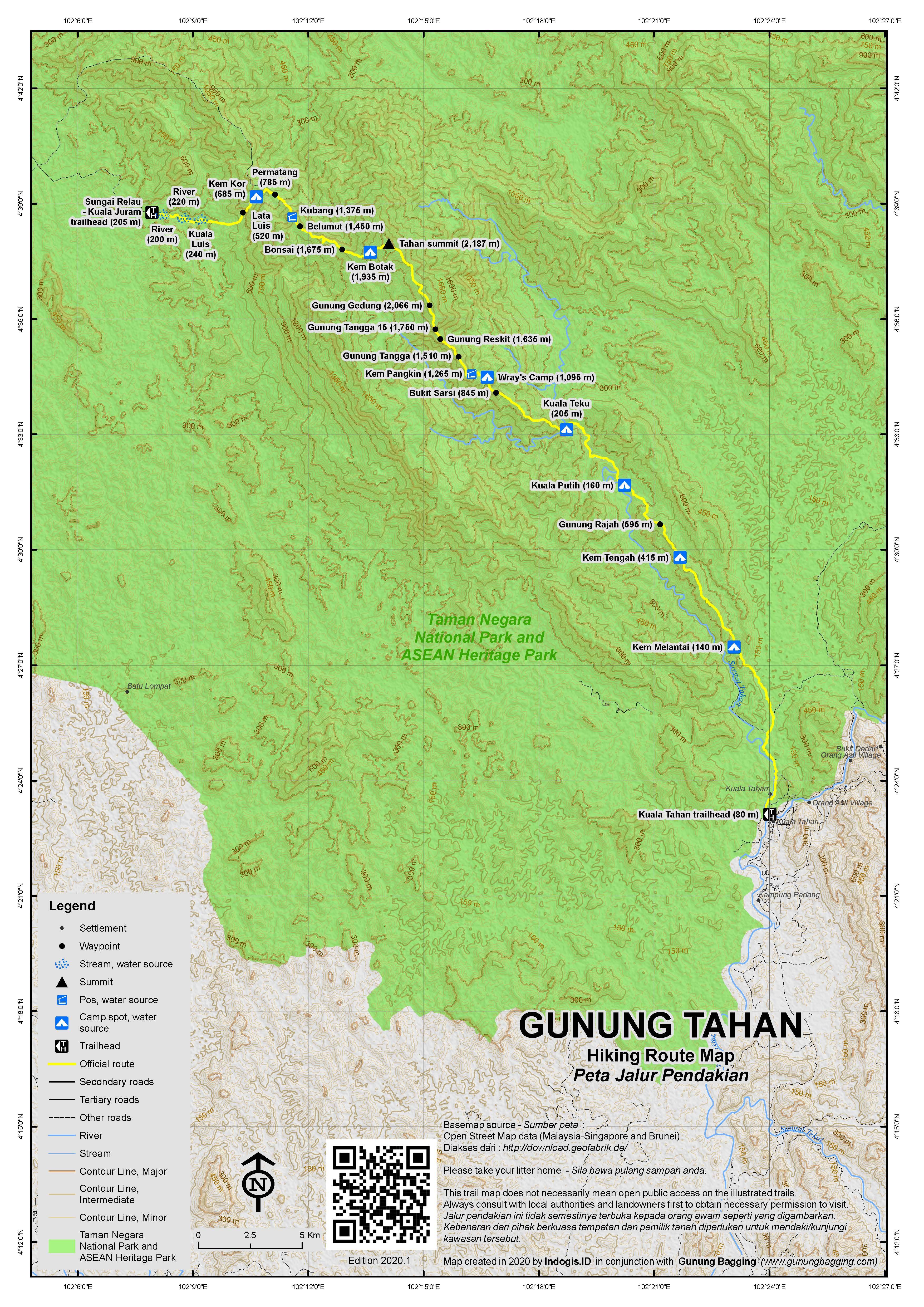Peta Jalur Pendakian Gunung Tahan