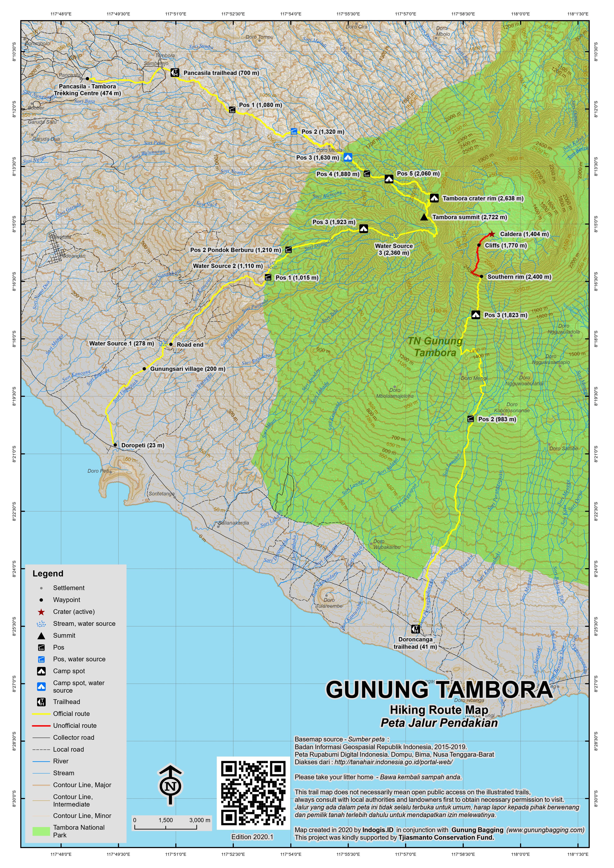 Peta Jalur Pendakian Gunung Tambora