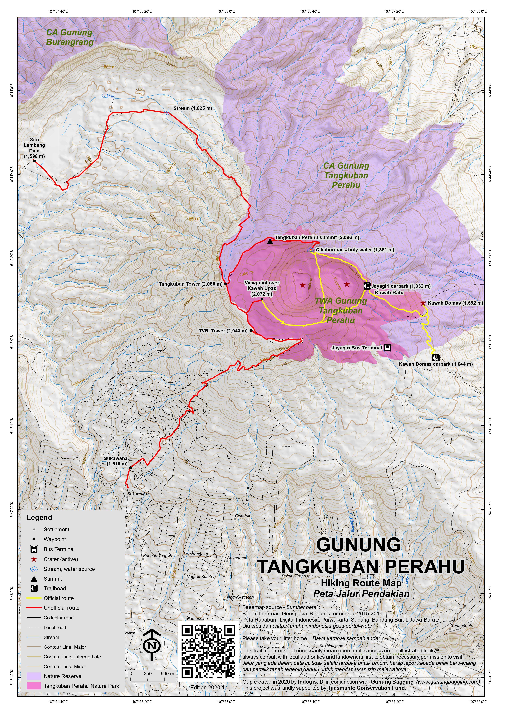 Peta Jalur Pendakian Gunung Tangkuban Perahu