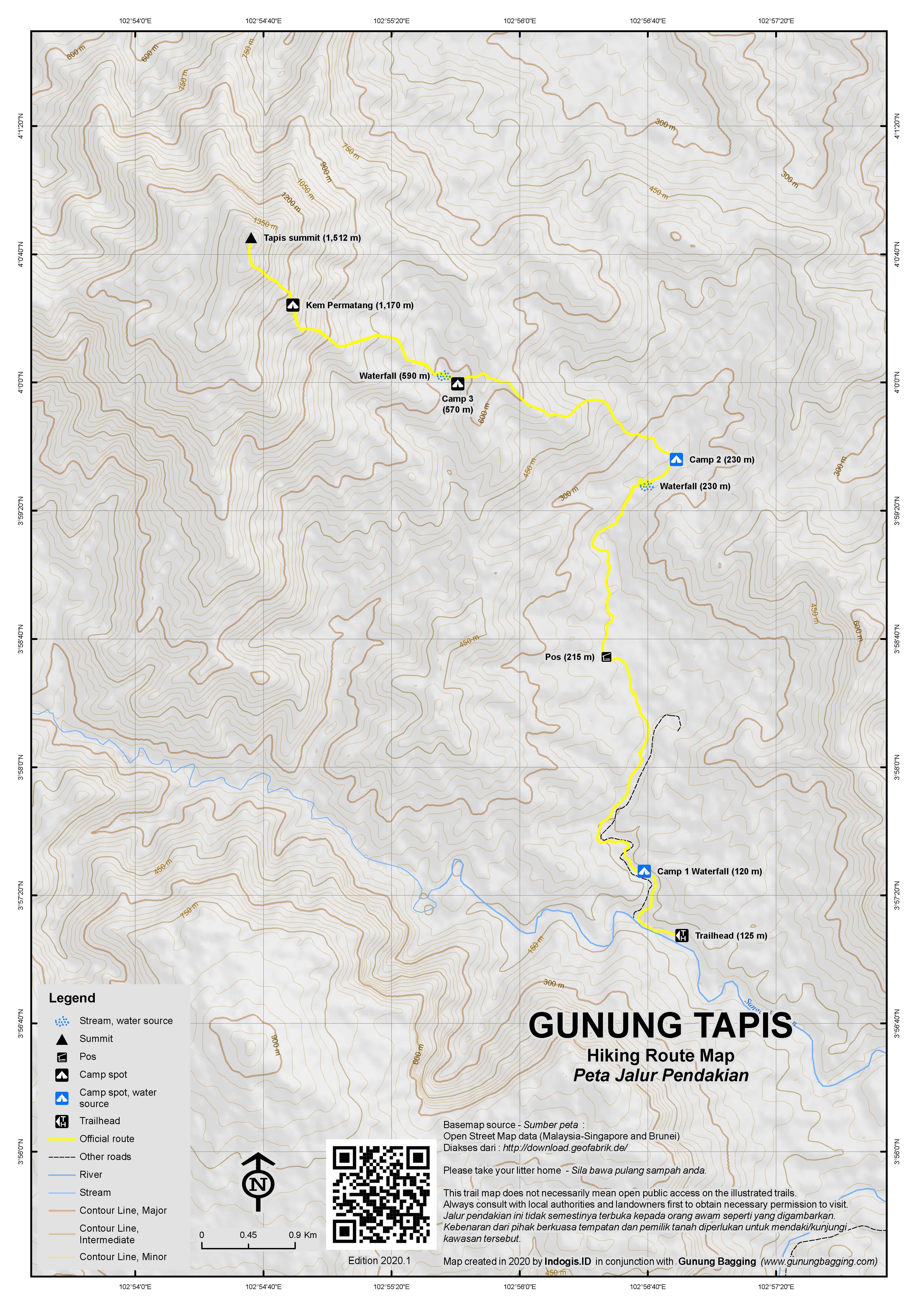Peta Jalur Pendakian Gunung Tapis