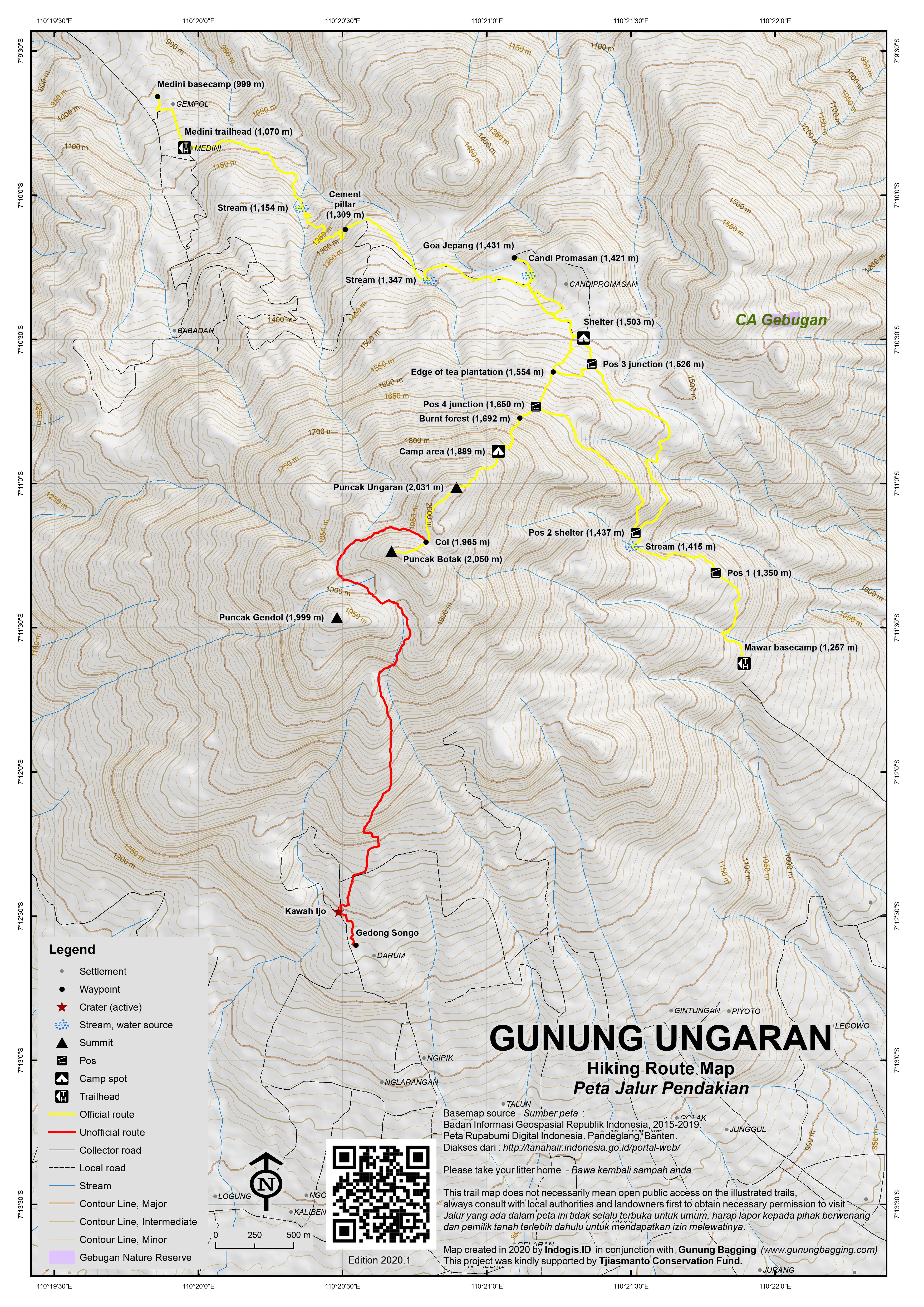 Peta Jalur Pendakian Gunung Ungaran