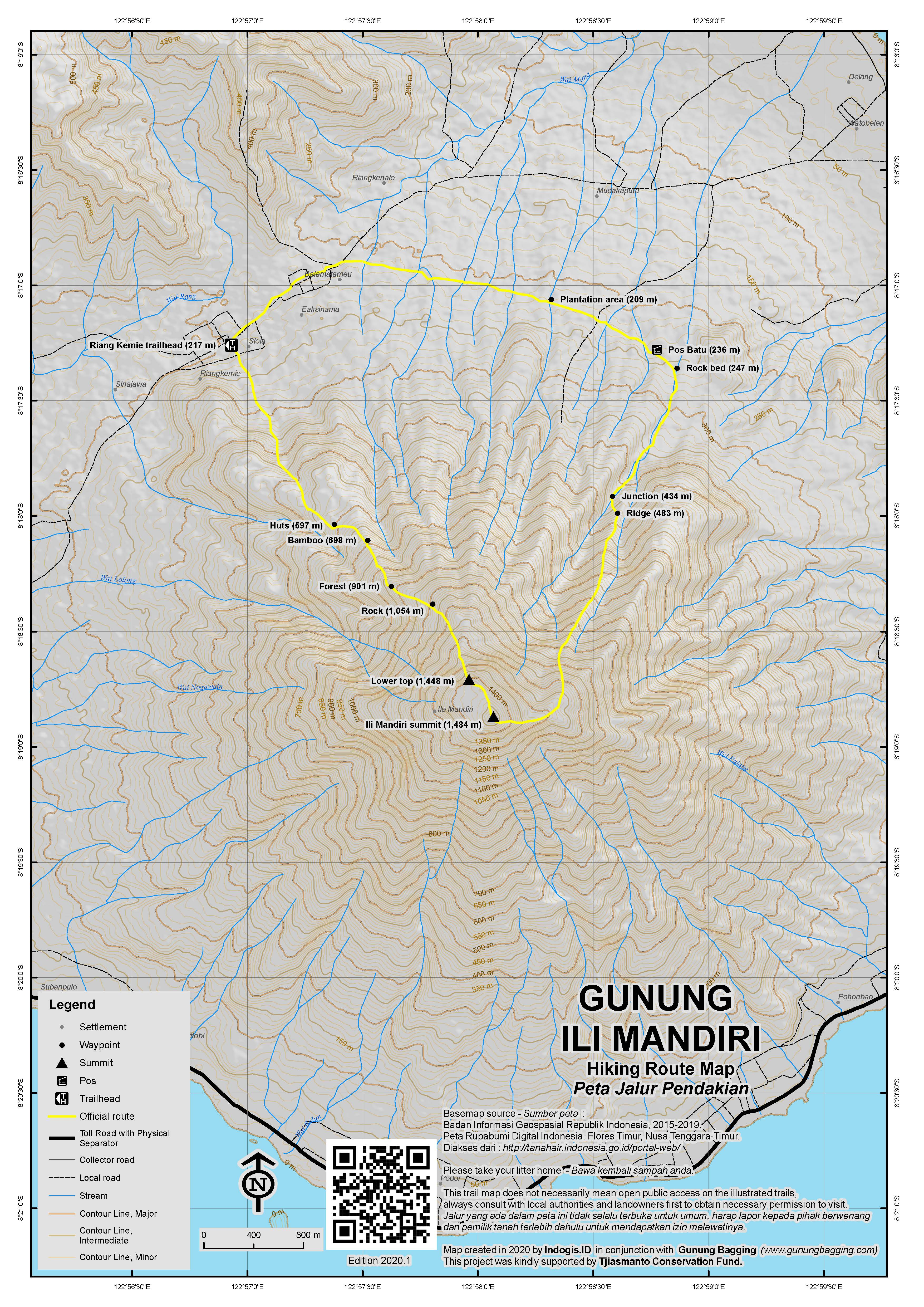 Peta Jalur Pendakian Ili Mandiri