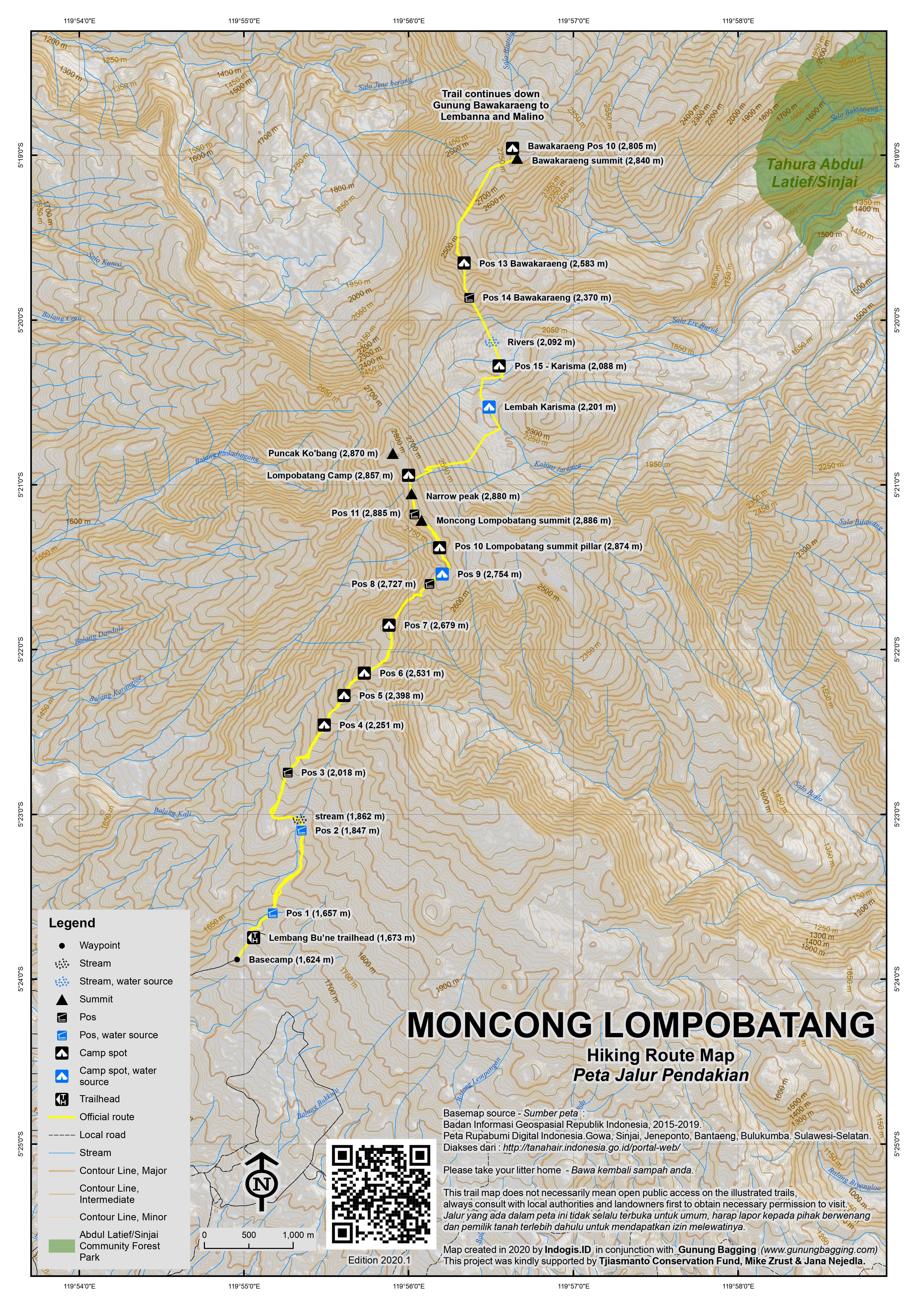 Peta Jalur Pendakian Moncong Lompobatang