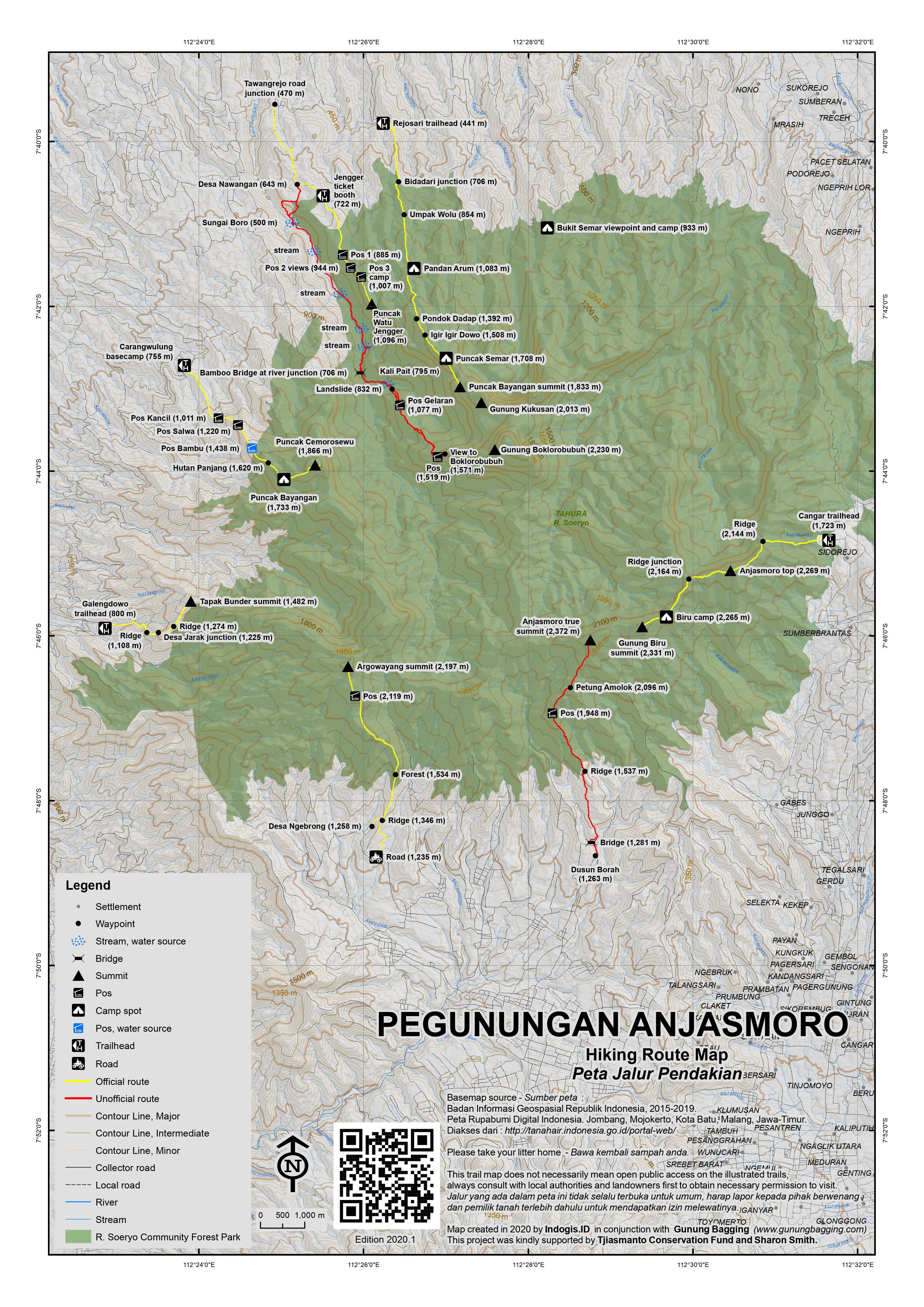 Peta Jalur Pendakian Gunung Anjasmoro